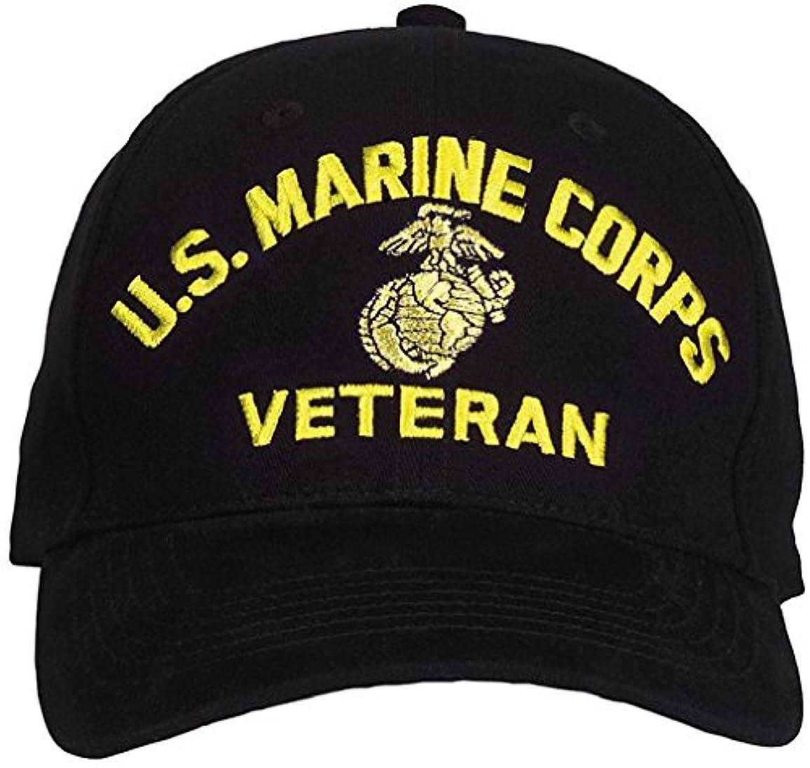 ブラック米国海兵隊GlobeアンカーVeteran調節可能野球帽子キャップ