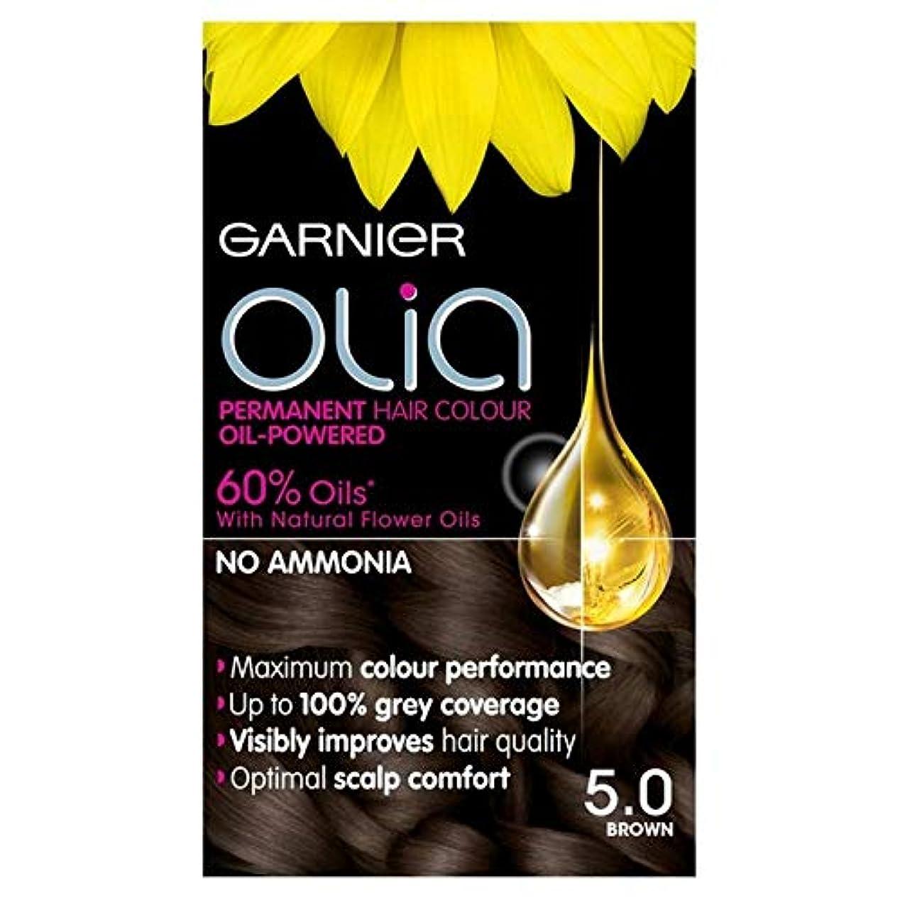 咲くスライス明示的に[Garnier ] 5.0茶色の永久染毛剤Oliaガルニエ - Garnier Olia 5.0 Brown Permanent Hair Dye [並行輸入品]
