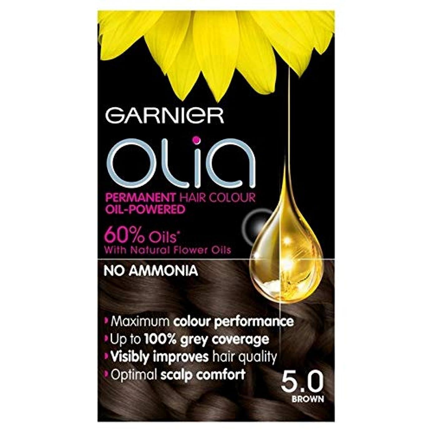 [Garnier ] 5.0茶色の永久染毛剤Oliaガルニエ - Garnier Olia 5.0 Brown Permanent Hair Dye [並行輸入品]