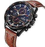 腕時計 メンズ腕時計 クラシック カジュアル ファッション レザーウォッチ リアルレザーストラップ カレンダー 防水 多機能 メンズクォーツ時計 (ブラウン)
