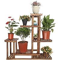 室内花鉢の棚の収納ラックのリビングルームのベッドルームのバルコニーの装飾の床のラック多層庭のディスプレイラックの固体木製植物の棚防腐5層の花のフレーム木製