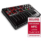 Akai Professional MPK Mini MKII   25-Key Portable USB MIDI Keyboard With 16 Backlit Performance-Ready Pads, 8-Assignable Q-Link Knobs & A 4-Way Thumbstick Black Black
