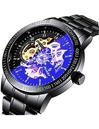 腕時計、メンズ腕時計、ビジネスシンプルスポーツウォッチ自動スケルトンヴィンテージウォッチ高級ブラックステンレススチール防水腕時計