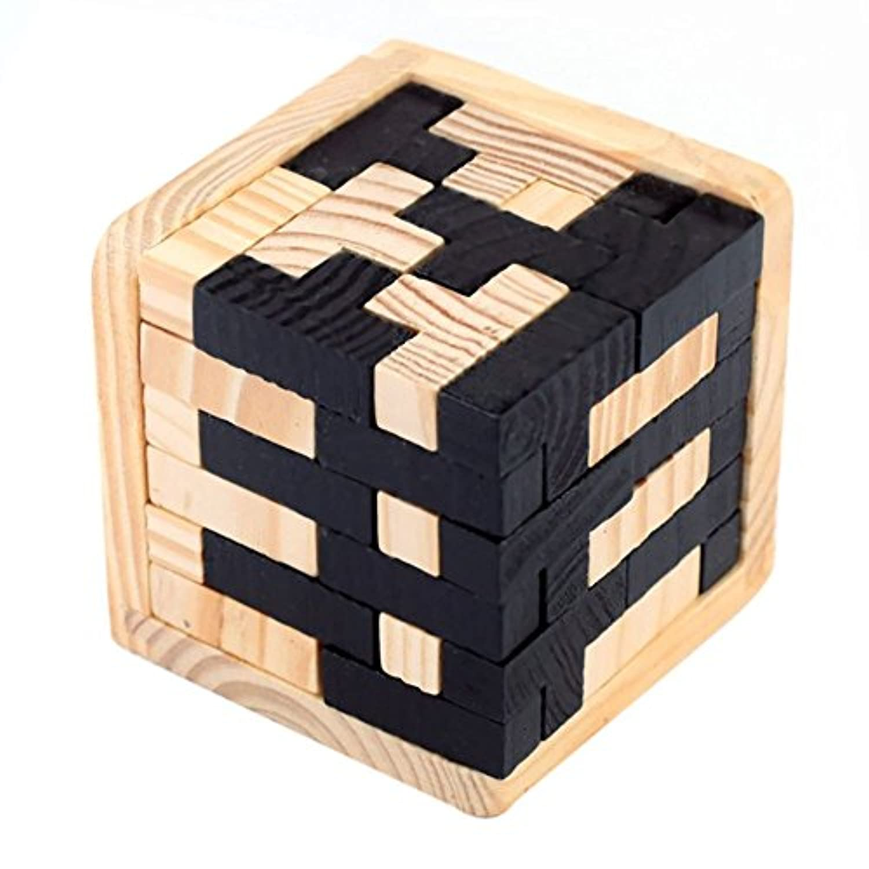JVSISM 3D 木製パズルブレインティーザー 54 T-シェイプ ブロック幾何学 知的ジグソーパズル教育玩具 幼児子供と大人に適用