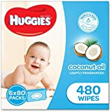 Huggies Coconut Baby Wipes Bundle Pack (Pack of 480), (2*3*80 Pack), Packaging may vary
