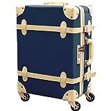 FIELDOOR ヴィンテージ風 トラベルキャリーケース スーツケース Sサイズ 機内持込可 (ブルー) 【ファスナータイプ】