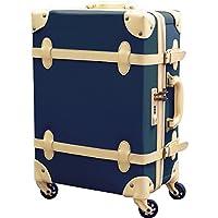 b8a7f5057f FIELDOOR ヴィンテージ風 トラベルキャリーケース スーツケース Sサイズ 機内持込可 (ブルー) 【ファスナータイプ】