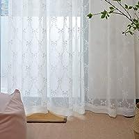 DEZENE(デゼンエ) 刺繍 レース カーテン ホワイト ミラー 透けない UVカット 幅100cm×丈176cm(1枚入)