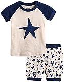 [Vaenait Baby]キッズ12ヶ月-7歳綿100%ルームウェア半袖パジャマ寝間着上下セットPumping Star Navy XS