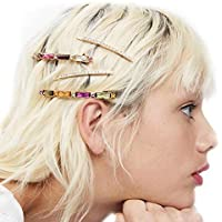 Reiko Colorful Gem Gold Sparkle 4 Pcs Bobby Pins Fashion Chic Hair Clip Barrette Snap On Slide Clips Headwear for Women Girl