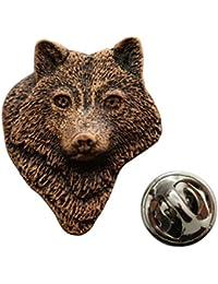 ウルフヘッドピン~アンティーク銅~ラペルピン~サラのTreats & Treasures