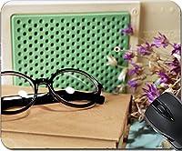 MSD天然ゴムマウスパッドマウスパッド/マット: 32526894デザインレトロラジオBook and glasses onテーブルで部屋