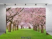7X 5ft Amazing Sakura Flower RoadシームレスPolyファブリックフォトBackdropsカスタマイズStudio背景Cherry Blossoms Street Studio Props rm-021