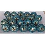 JGARTS 20 Blue Vinatge Look Mixed round flower shape Ceramic pottery Door knobs Cabinet Handle Cupboard Pulls Drawer puller k