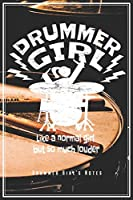 """Drummer Girl's Notes - Like A Normal Girl But So Much Louder: Drummers & Drumming Notebook Journal Diary Planner (Dot Grid Paper, 120 Pages, 6"""" x 9"""") Gift For Female Rock Music Band Percussion Girls - Perfect Gift Idea For Birthday & Christmas"""