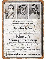 なまけ者雑貨屋 Johnson's Shaving Cream Soap メタルプレート レトロ アメリカン ブリキ 看板 バー ビール おしゃれ インテリア