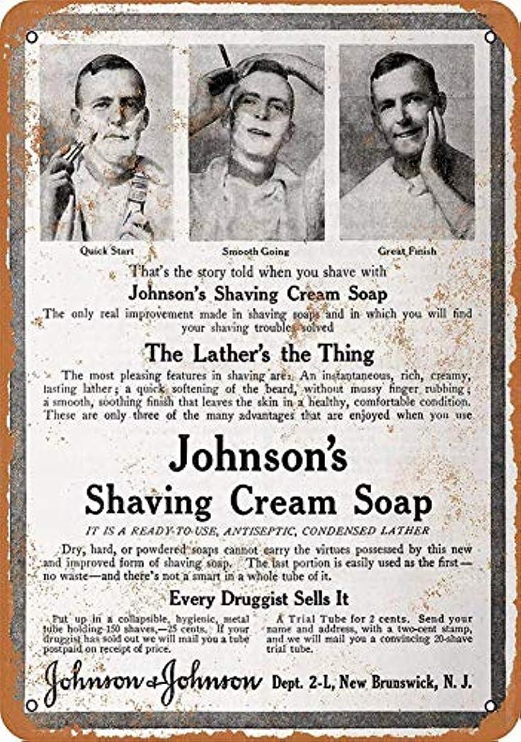 予測する食料品店後世なまけ者雑貨屋 Johnson's Shaving Cream Soap メタルプレート レトロ アメリカン ブリキ 看板 バー ビール おしゃれ インテリア