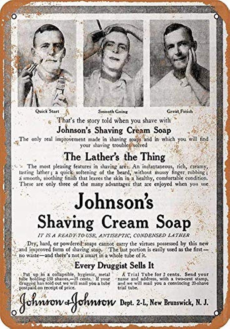 おんどり雷雨批判なまけ者雑貨屋 Johnson's Shaving Cream Soap メタルプレート レトロ アメリカン ブリキ 看板 バー ビール おしゃれ インテリア