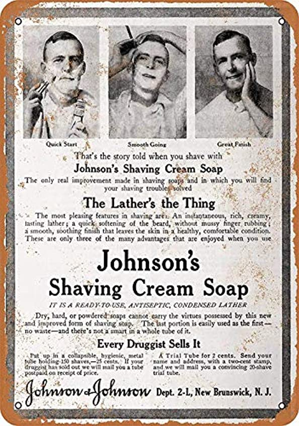 限りまぶしさ凍るなまけ者雑貨屋 Johnson's Shaving Cream Soap メタルプレート レトロ アメリカン ブリキ 看板 バー ビール おしゃれ インテリア