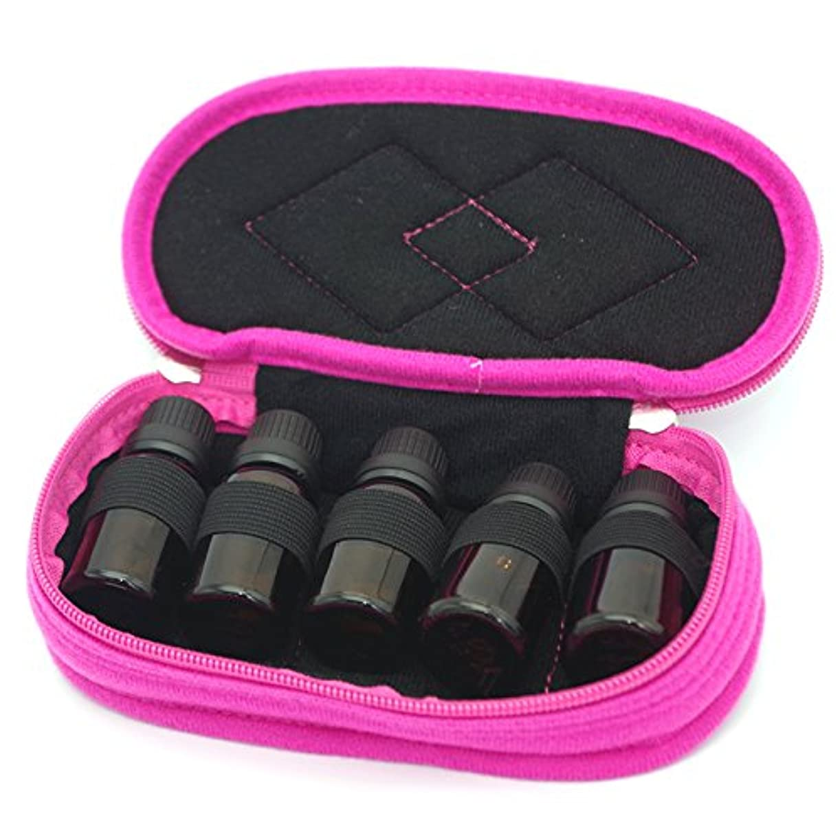 空気裸ペストFarlong オイル収納バッグ化粧収納ボックス5/10/15/30 ml(4色) (ローズレッド)