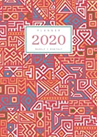 Planner 2020 Weekly Monthly: A5 Full Year Notebook Organizer Small | 12 Months - Jan to Dec 2020 | Creative Tribal Geometric Design Red