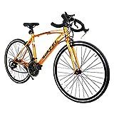 ロードバイク スポーツバイク 700C シマノ14段変速 超軽量高炭素鋼フレーム ライトのプレゼント付き ドロップハンドル 自転車 PL保険加入 オレンジ SF-01OR
