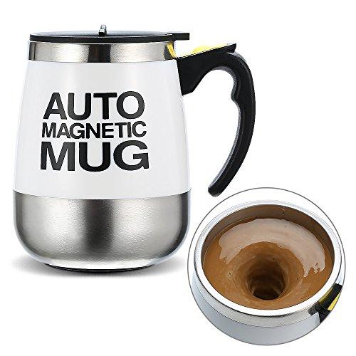Ysinobear マグカップ 自動ミキサー ステンレス 電動シェーカー フタ付きマグ 蓋付きカップ コーヒー用ボトル 撹拌 おしゃれ 便利 真空断熱マグ 磁化カップ バレンタインギフト (ホワイト)