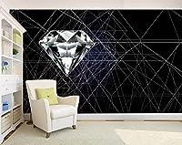 Mbwlkj 3D 壁の家の装飾のモダンで抽象的な壁紙のリビングルームの背景の壁の壁画のベッドルームダイヤモンド壁紙壁の壁画-150Cmx100Cm