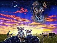 LovetheFamily 大草原のライオンとスカイライオンの頭 数字キットによる絵画 数字油絵 数字キット塗り絵 手塗り DIY絵 デジタル油絵 ホーム オフィス装飾 (40x50cm, フレーム付き)
