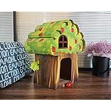 furpawz Cat House Scratching Board with Catnip Corrugated Cardboard Scratch Pad (Treehouse)