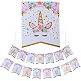 AMZTM Happy Birthday Bunting Banner Rainbow Unicorn Themed Party Decoration For Cute Fantasy Fairy Girls Birthday Baby Shower Party Supplies [並行輸入品]