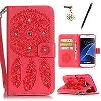 HB-Int 3 IN 1 Samsung Galaxy S7 ケース 手帳型 レザー カバー カードポケット スタンド機能 マグネット式 ストラップ付き ダイヤモンド 本型 キラキラ 脱着簡単 財布型 スマートフォンケース 横開き 二つ折り 携帯専用 スマホケース エンボス 花 純色 ドリームキャッチャー 赤い(携帯ケース×1、タッチペン×1 、イヤホンジャック×1)