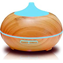 300ml Wood Grain Essential Oil Diffuser, HogarTech Cool Mist Electric Aroma Spa Ultrasonic Aromatherapy Humidifier, Perfect for Home Office Gift Ideas