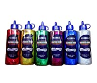 6 Color Glitter Glue Set (4oz - 120 ml Bottles) Classic Colors - Green, Gold, Red, Silver, Blue, and Purple by Basic