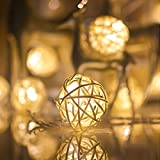 Rattan Ball Fairy String Lights 20 LED 4M, Battery Powered, Waterproof, ANGELCARE Xmas Lights for Christmas Trees, Wedding, Party, Home Décor, New Year, Garden, Bedroom, Wall Decoration, Warm White