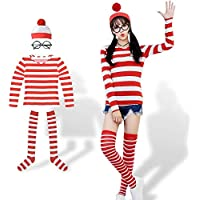 クリスマス コスプレレディース ハロウィン 仮装 大人 レディース コスプレ ウォーリーを探せ コスチューム 女の子 4点セットシャツ・帽子・メガネ・ソックス