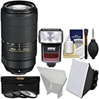 Nikon 70–300mm f / 4.5–5.6e VR af-p Ed Zoom - Nikkorレンズwith 3UV/CPL / nd8フィルタ+ iTTLフラッシュ+ソフトボックス+リフレクター+キット