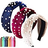 3 Packs Headbands for Women Pearl Headbands Similar Velvet Wide Headbands Head Bands Women Hair With Faux Pearl Elastic Hair Hoops Fashion Hair Accessories for Women and Girls
