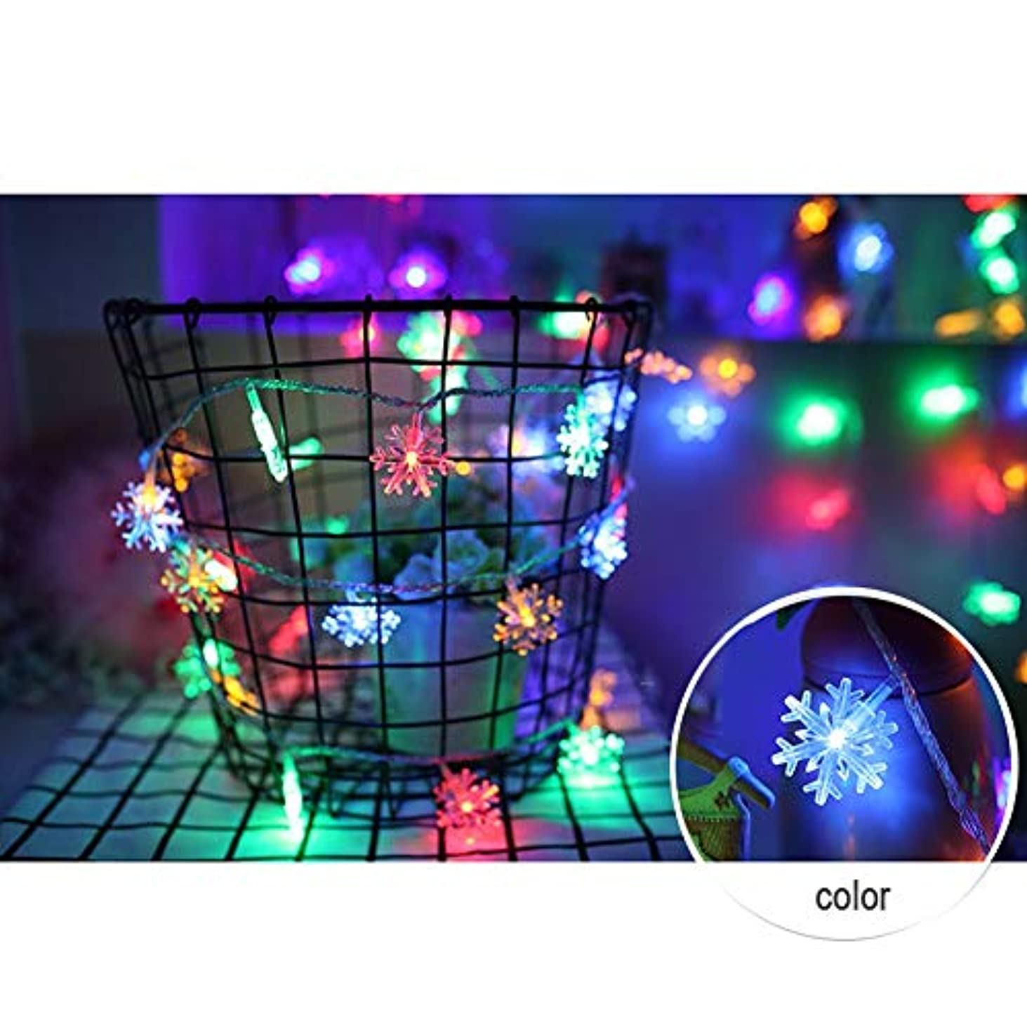 カートンミスペンドほうき電池式 ストリングライト - 防雨型 スノーフレークLEDイルミネ ーションライト ロマンチックな雰囲気を作る屋外用 ワイヤーライト イルミネーションライト、庭、パティオ、バルコニ、ークリスマス