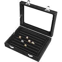 Pasutewel 7 Slots Velvet Glass Ring Jewellery Display Storage Box Tray Case Holder Earring Organizer Stand
