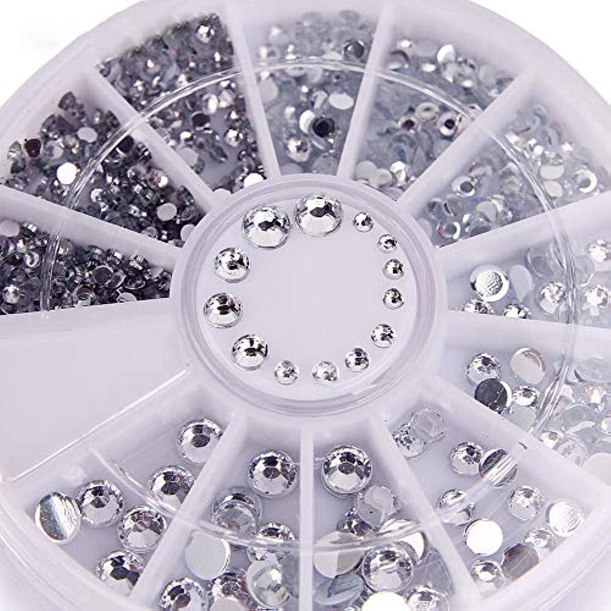 腹痛側重要性400個ネイルラインストーンミックスシルバーラウンドダイヤモンド形状1.2mm/2mm/3mm/4mm 3DネイルデコレーションアクリルUVジェル
