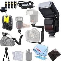 自動ズームバウンスフラッシュ、180度クイックフリップ回転フラッシュブラケット、off-cameraフラッシュコード、AA電池(充電式) AC / DCカー&ホーム充電器、デラックススターターキットfor Nikon d3000、d3100、d3200、d3300、d5000、d5100、d5200、d5500、d7000、d7100、d7200、d600、d610、d700、d750、d800、d810、d90& More