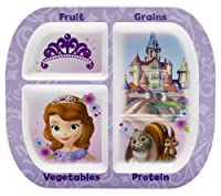 Zak! Designs Healthy by Design 4-Section Plate featuring Sofia The First, Break-resistant and BPA-free Melamine by Zak Designs