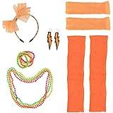 YeahiBaby 女性用80sコスチュームセット80sレースヘッドバンドネオンピアスフィンガーレスフィッシュネット手袋ビーズネックレス80'sパーティー用アクセサリー(オレンジ)
