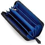 [レガーレ] カーボン レザー カード18枚収納 ガバッと開いて使いやすい 長財布 10色(オリジナル化粧箱入り) (カーボンブラック×ブルー)