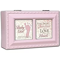 Cottage Garden Baby Girl Distressed Pink Petite Music Box / Jewellery Box Plays Jesus Loves Me