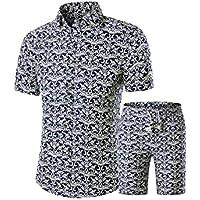 RkBaoye Mens Short Pants Short-Sleeve Floral Print Slim Shirts 2 Piece Set