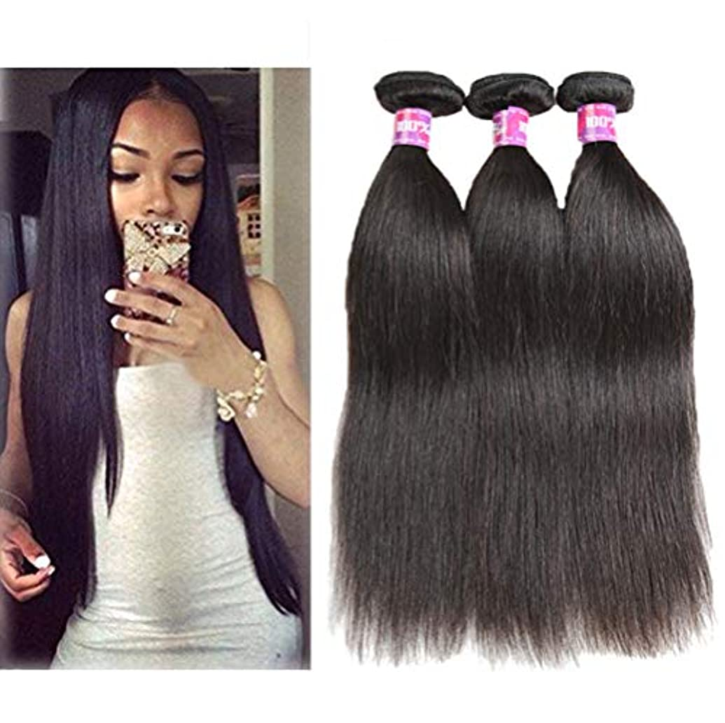 作家姿勢偽造女性の髪織りブラジルの髪1バンドルストレートヘア100%未処理のブラジルのバージンストレート人間の髪