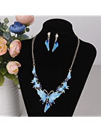 KOZEEY青 セット ヴィンテージ 蝶 クリスタル エナメル ペンダント ネックレスとイヤリング