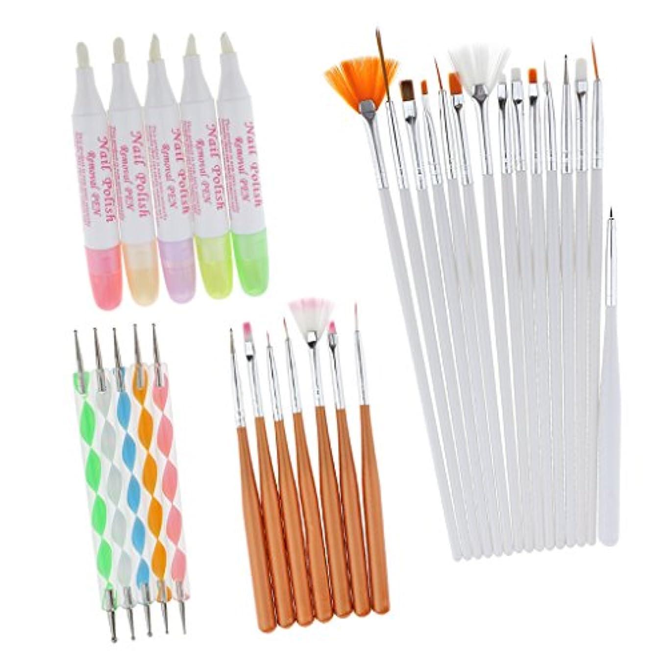 メンバー啓発するくToygogo 27ピース/個プロフェッショナルネイルアートブラシペンセット絵画描画点描ストライピングライナーペンキット+ 5ピース/個ネイルポリッシュコレクターペン